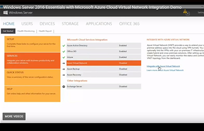 OEM TV: Windows Server 2016 Essentials with Azure Virtual Network Integration